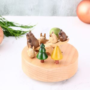 Hand Crafted Bears On A See Saw Wooden Music Box - christening gifts