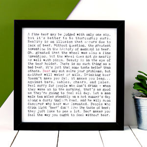 Beer Lovers Gift; 'Beer' Print - personalised