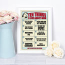 Personalised Ten Things I Love About Mum Gift Print