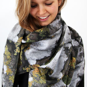 Rock And Lichen Silk Scarf - hats, scarves & gloves