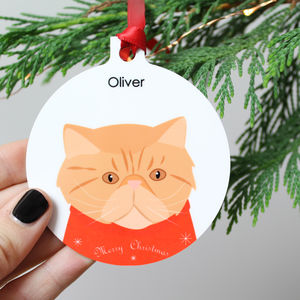 Personalised Christmas Cat, Metal Bauble - pet-lover