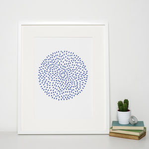 Reduced Modern Navy Blue Circle Print