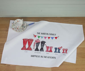 Personalised Christmas Welly Boot Family Tea Towel - new in home