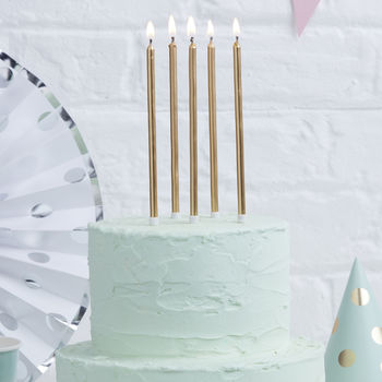Gold Extra Tall Birthday Cake Candles