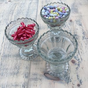 Vintage Glass Sweet Or Pudding Bowls - sugar bowls & cream jugs