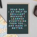 Dear Dad Bold Text Funny Father's Day Card