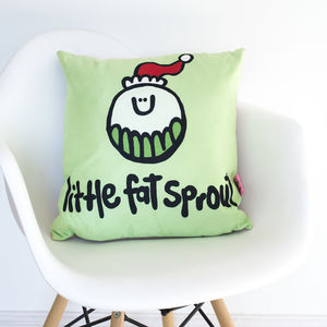 'Fat Sprout' Funny Christmas Cushion - cushions