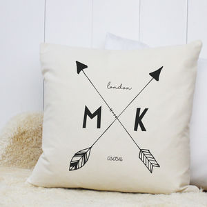Personalised 'Arrow Initial' Cushion - bedroom