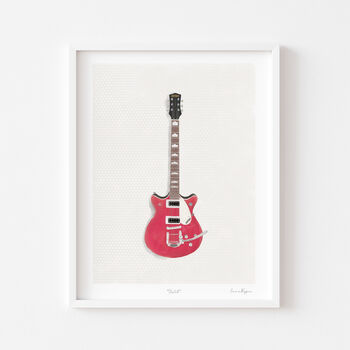 Illustrated Vintage Guitar A4 Print