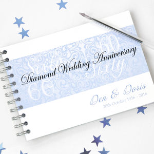 Personalised Diamond Wedding Anniversary Guestbook