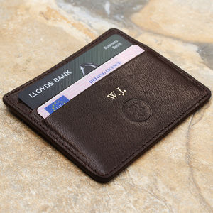 Personalised Italian Leather Card Holder - 3rd anniversary: leather