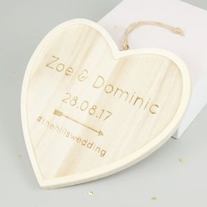 Personalised Wooden Hanging Wedding Heart