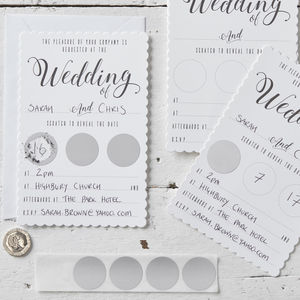 White And Silver Scratch The Date Wedding Invitations