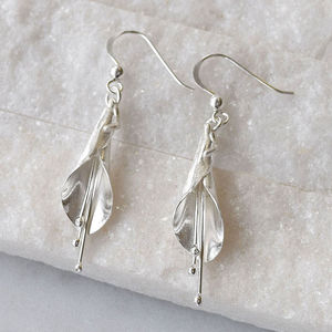 Sterling Silver Long Calla Lily Earrings - earrings