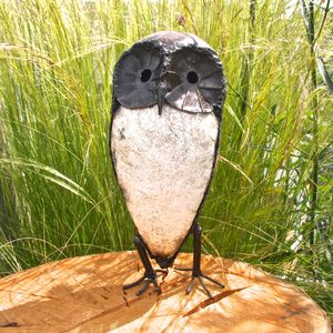 Handpainted Owl Garden Sculpture
