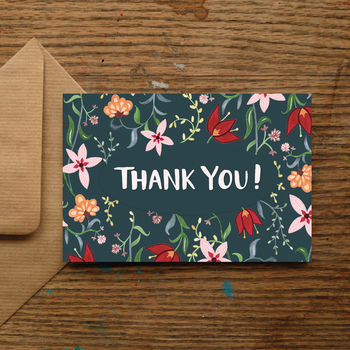 'Thank You' Dark Tropics Greetings Card
