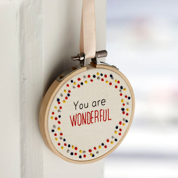 Inspirational Quote Mini Hoop Art 'You Are Wonderful'
