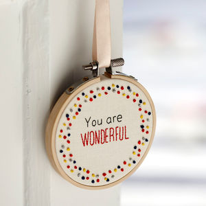 Inspirational Quote Mini Hoop Art 'You Are Wonderful' - gifts from younger children