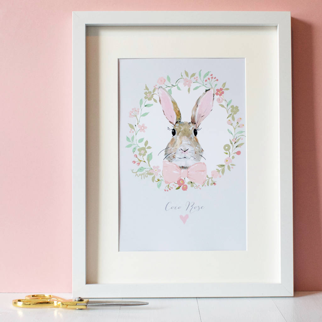 Personalised Bunny Rabbit Print Blush Pink