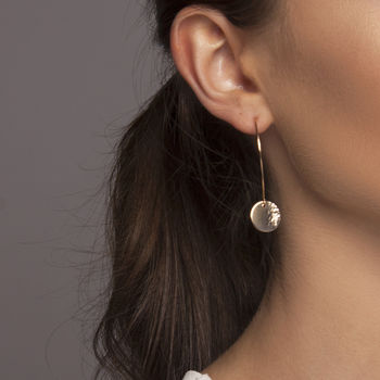Gold Or Silver Long 'Moon Tide' Disc Earrings
