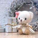 Personalised Hand Knitted Lizzie Mini Teddy Bear