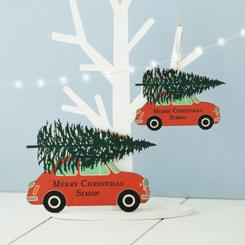 Personalised Wooden Car Christmas Decoration