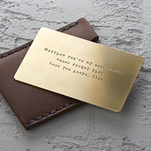 Personalised Metal Wallet Insert Card - personalised