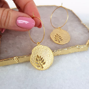 Gold Coin Hoop Earrings