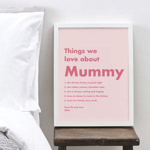 Personalised Things I Love About Mum Pink Bold Print - gifts for mothers