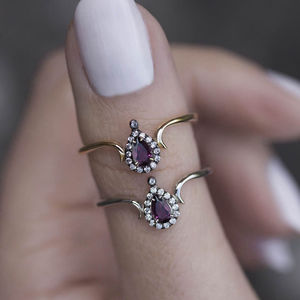 Amethyst Teardrop Vintage Style Ring In Silver Or Gold - rings