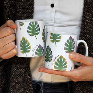 Personalised Monstera Leaves Mug