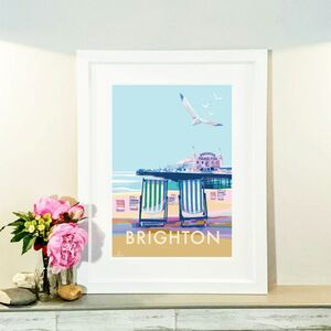 Brighton Vintage Style Seaside Travel Poster