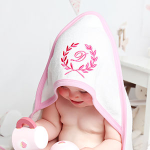 Personalised Wreath Baby Towel For Girls - bathroom