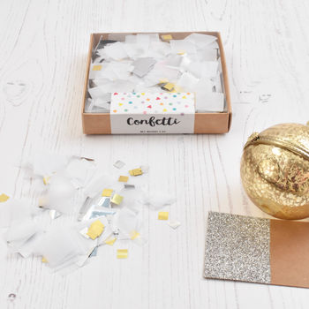 White Metallic Party Confetti Box