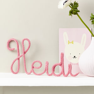 Personalised Name Sign Knitted And Wire Pink - signs