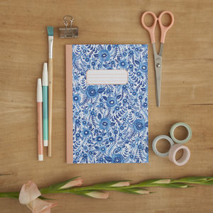 Blue Floral Pattern Illustrated A5 Notebook