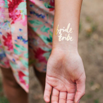 Bride Tribe Gold Metallic Temporary Tattoo