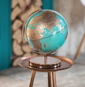 Blue And Copper Illuminated Globe - educational toys