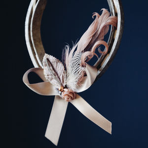 Patti Grey Feathered Lucky Wedding Horseshoe
