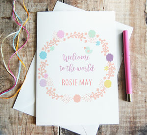 Personalised 'Welcome To The World' Newborn Card - new baby cards