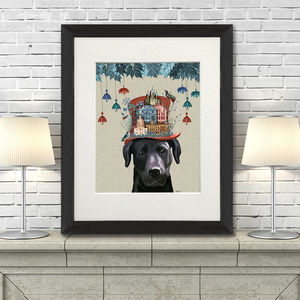 Black Labrador Print Milliners Dog - pet-lover