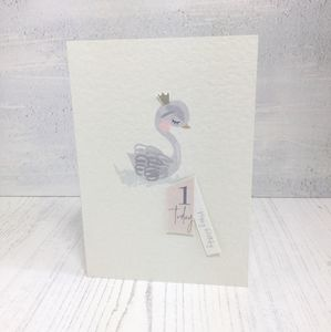 Swan 1st Birthday Card