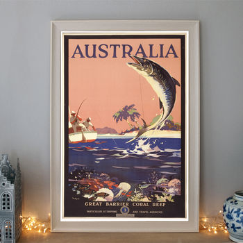 Vintage Australia Great Barrier Reef Travel Poster