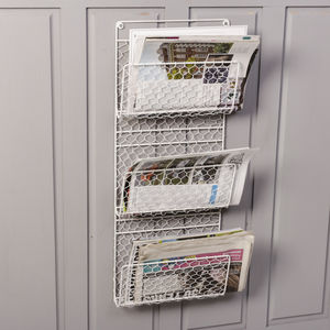 Cream Three Compartment Mail And Magazine Rack - kitchen