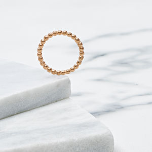 18ct Rose Gold Bobble Ring - rings
