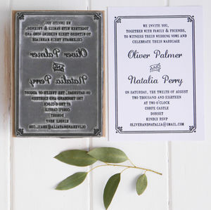 Wedding Invitation Stamp With Border - invitations