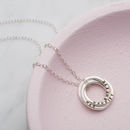 Personalised Russian Ring Necklace in 925 Sterling Silver with a black finish on a standard trace chain