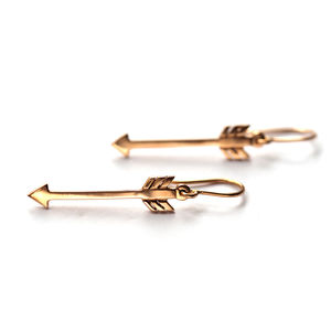 Cupid Arrow Earrings In Yellow And Rose Gold