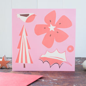 Pink And Red Christmas Collage Card Pack - cards