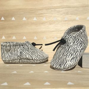 Leather Zebra Print Baby Booties